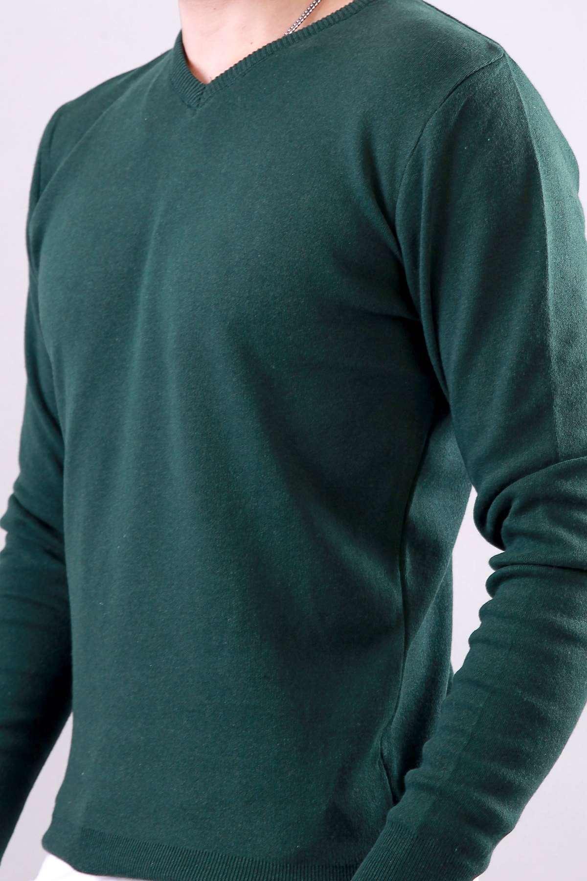 V Yaka Basic Triko Kazak Yeşil