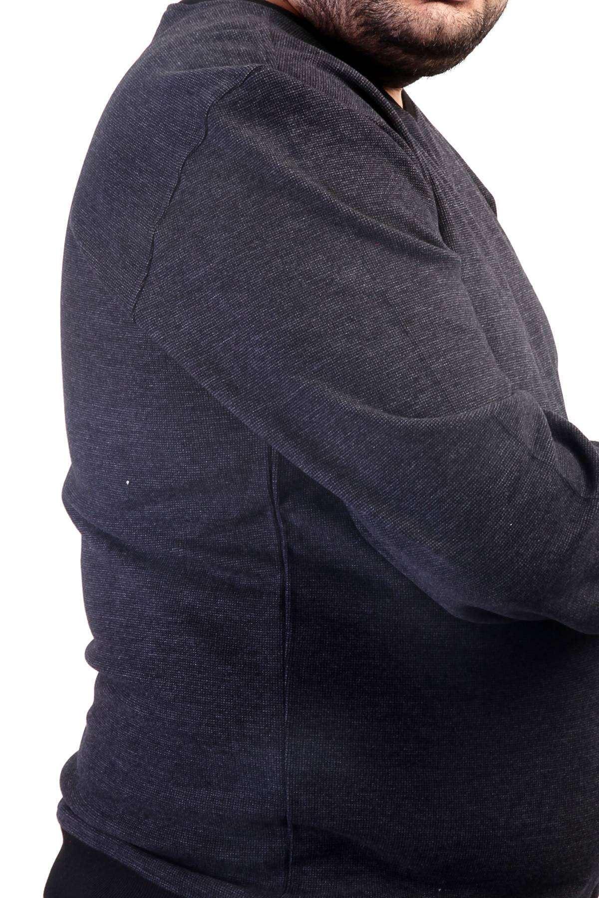 V Yaka Selanik Kırçıllı Süper Battal Sweatshirt Antrasit
