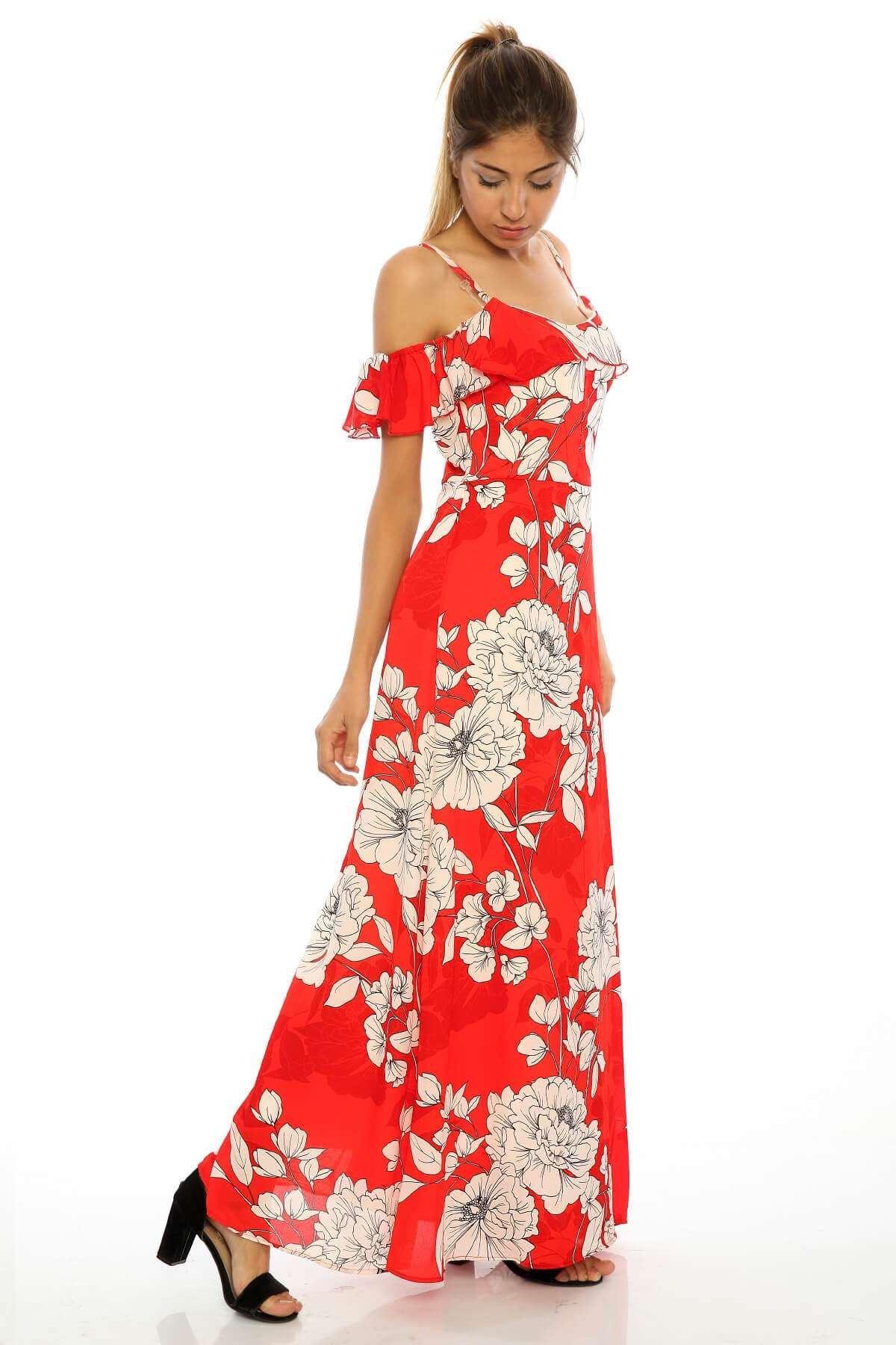 Yaka Fırfır Detaylı Uzun Astarlı Elbise Kırmızı