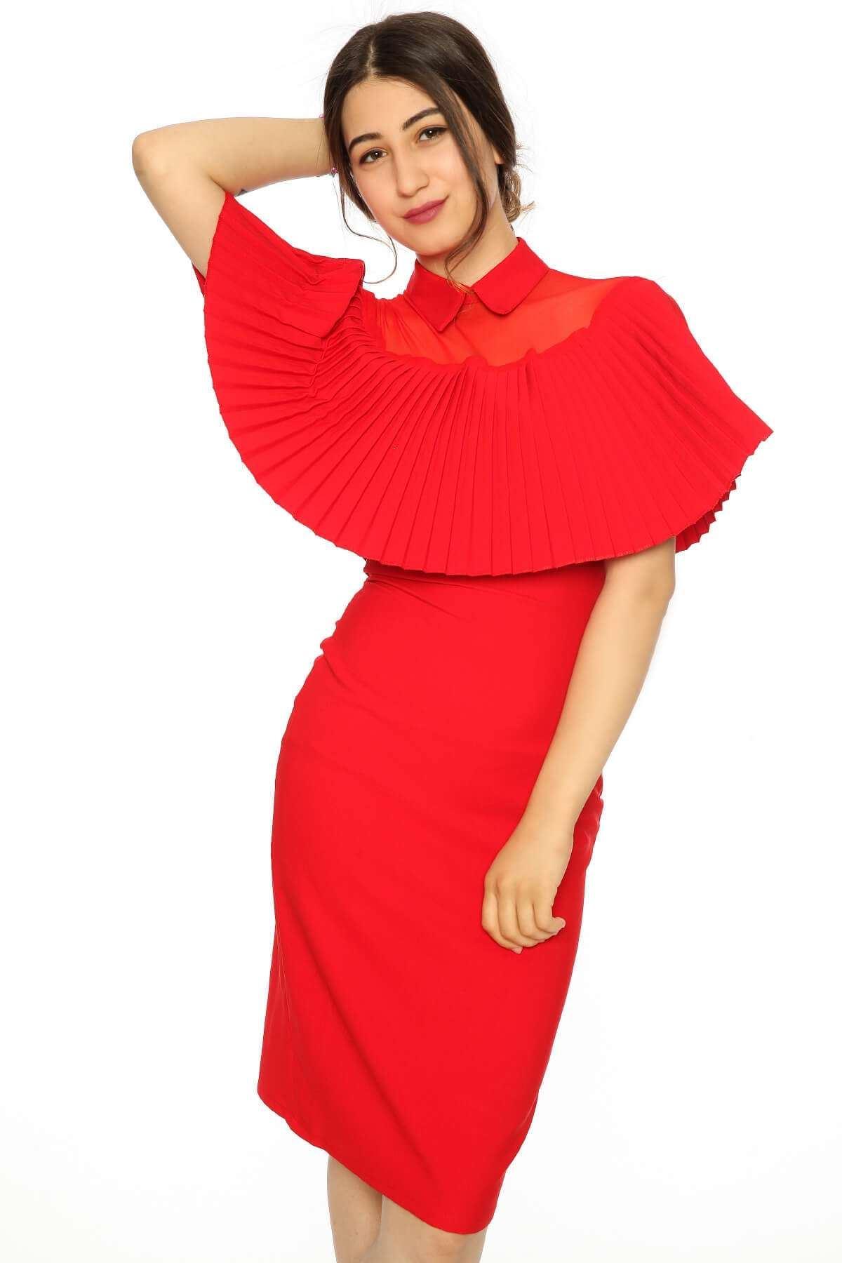 Yaka File Detaylı Elbise Kırmızı