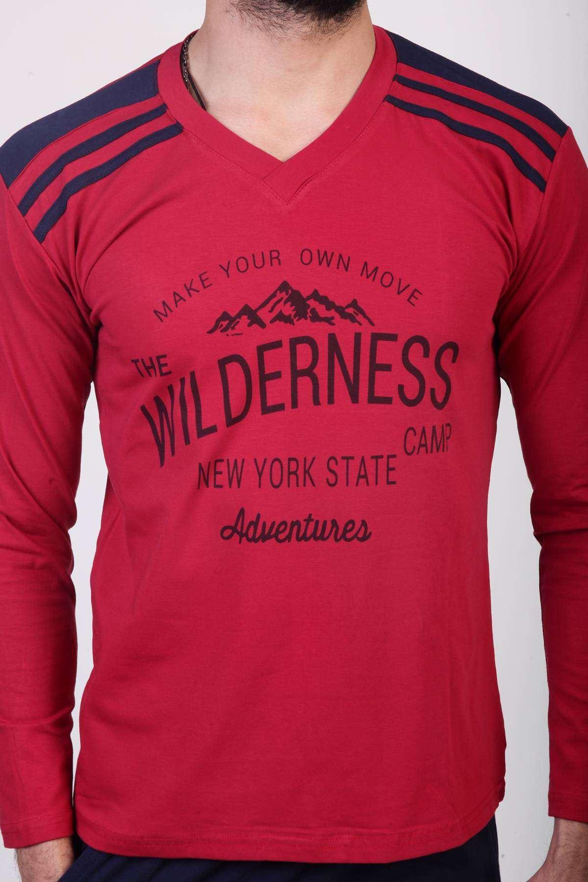 Wilderness Yazı Baskılı Omuz Şeritli Pijama Takımı Bordo