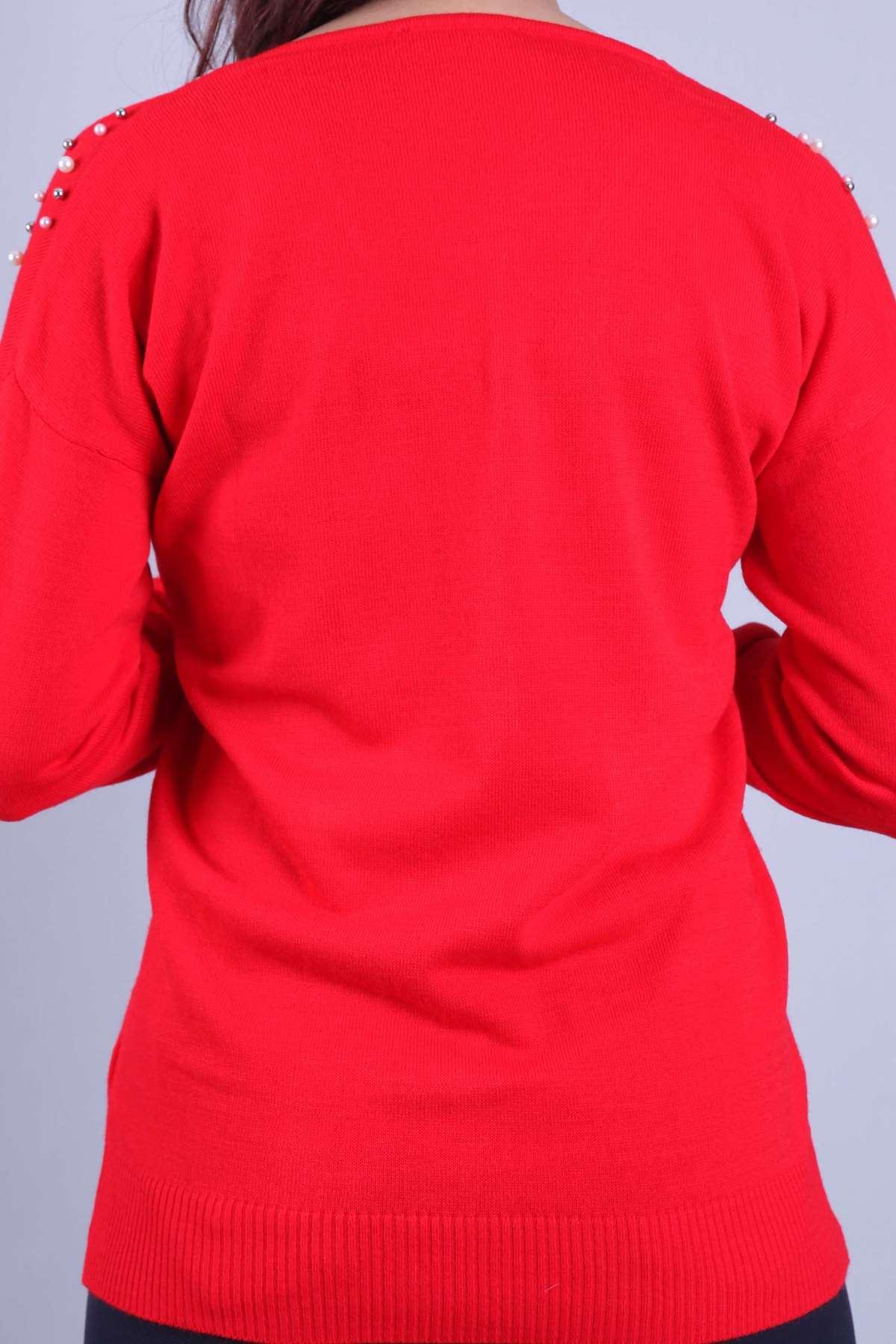 V Yaka Omuz İnci Detaylı Triko Bluz Kırmızı
