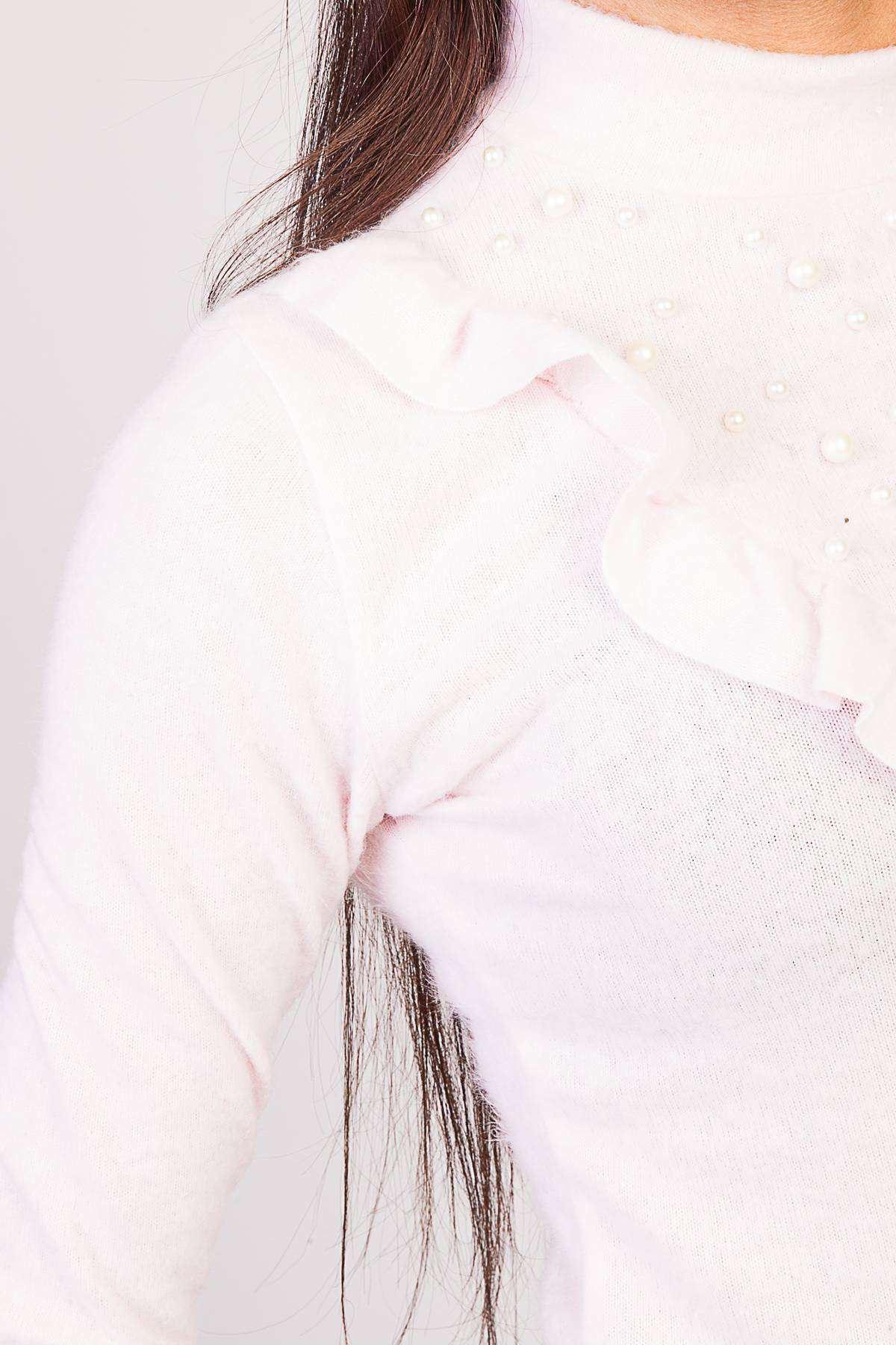 Yaka Fırfır Ve İncili Kol Ucu Detaylı Yumoş Bluz Pudra