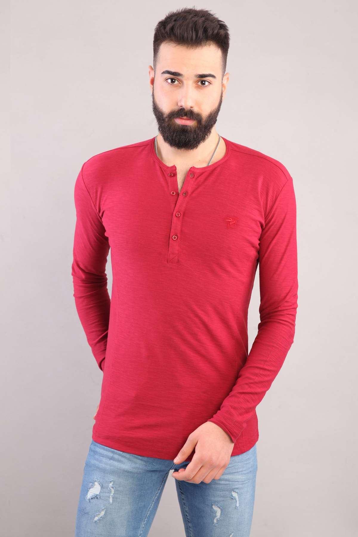 Yaka Düğmeli Flamlı Sweatshirt Bordo