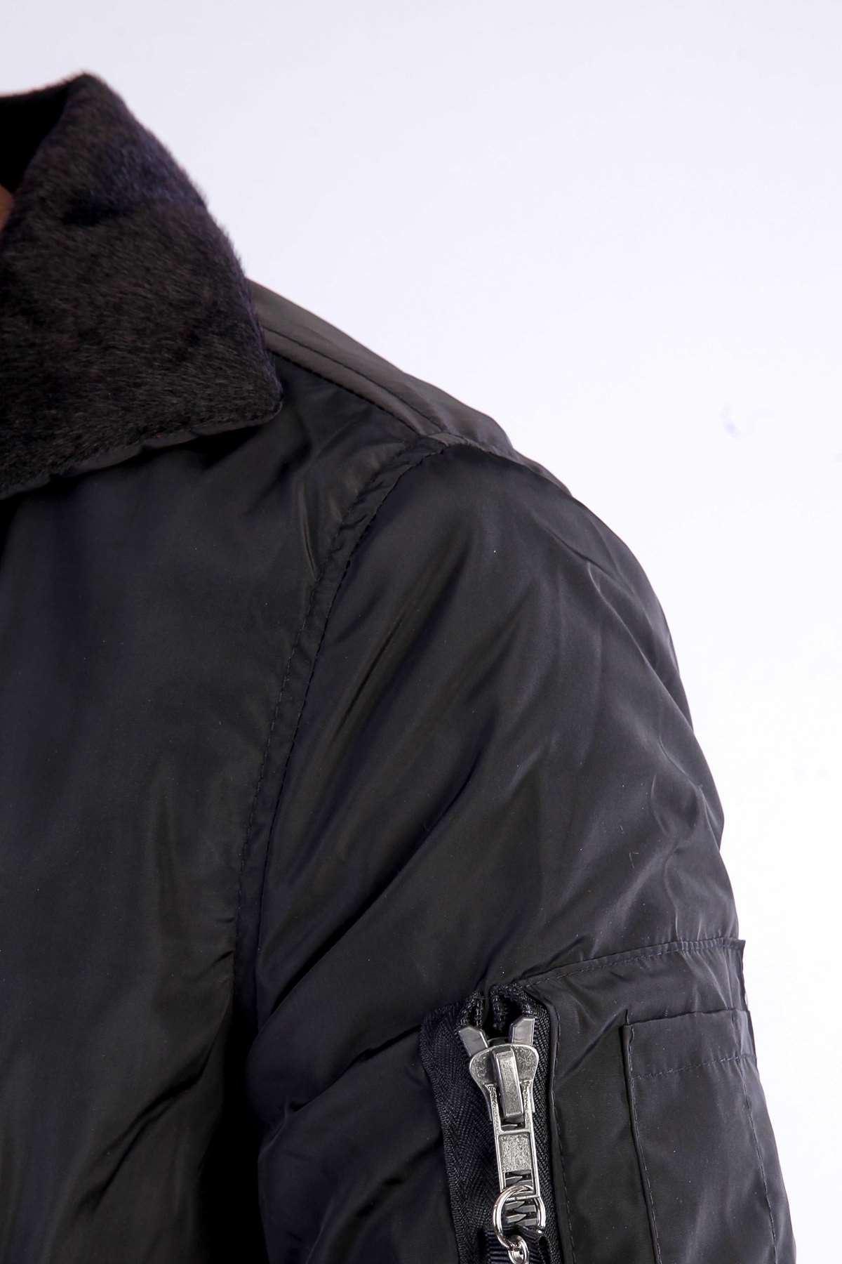 Yaka İçi Tüylü Kol Fermuarlı Mont Siyah