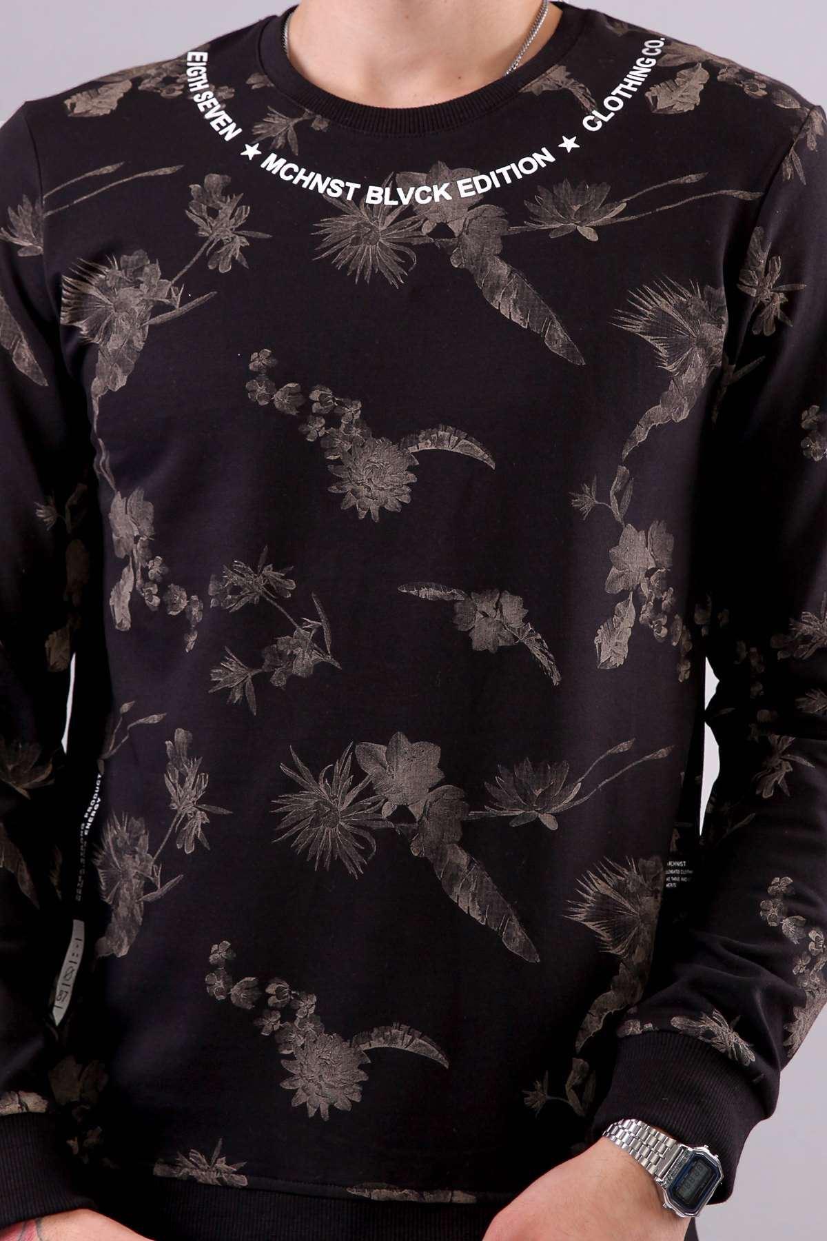 Yaka Yazılı Çiçek Baskılı 2 İplik Sweat Siyah