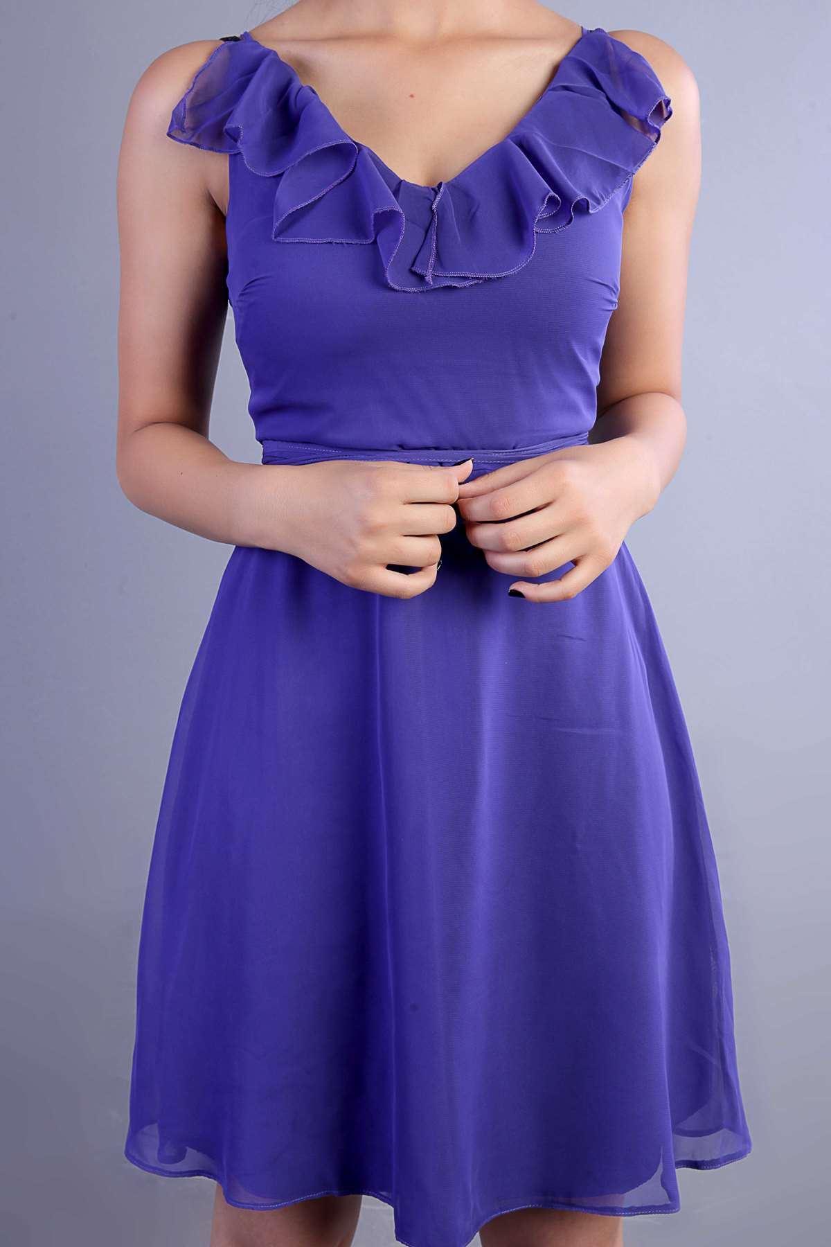 Yakası Fırfırlı Bel Sırt Bağlamalı İçi Astarlı Mini Elbise Mor