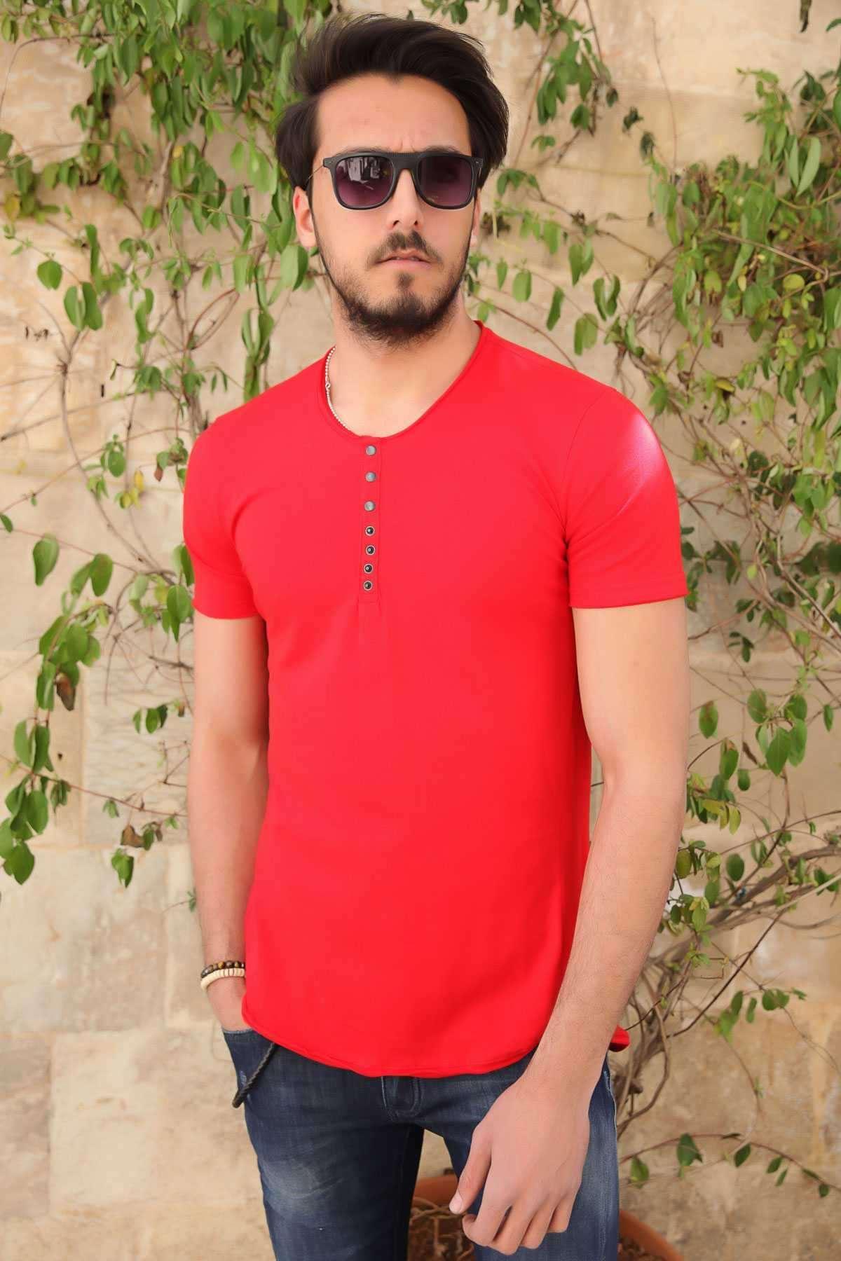 Yakası Çıtçıtlı Önü Kısa Arkası Uzun Pis Yaka Tişört Kırmızı