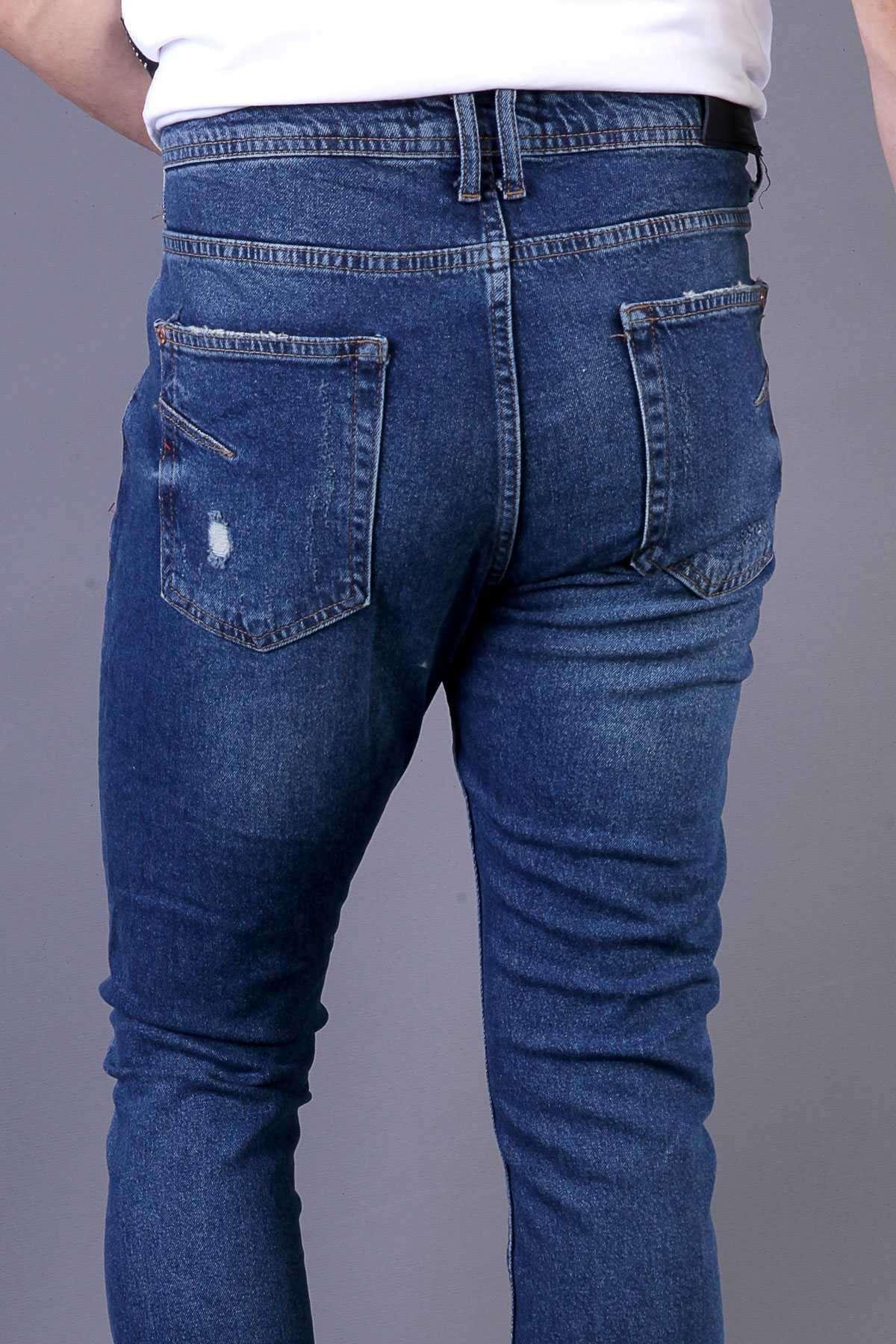 Yanı Zincirli Diz Yırtıklı Yazı Yamalı Slim Fit Kot Pantolon Lacivert