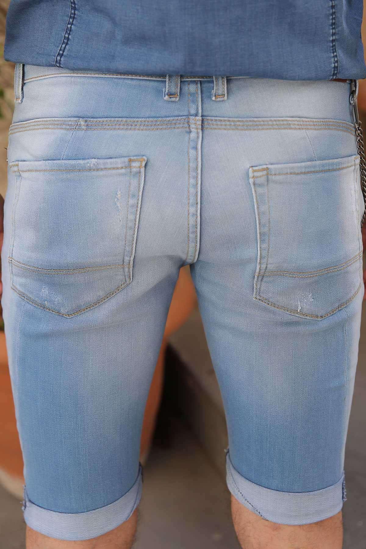 Yanı Zincirli Lazer Tırtıklı Taşlamalı Slim Fit Kot Şort Açık-Mavi