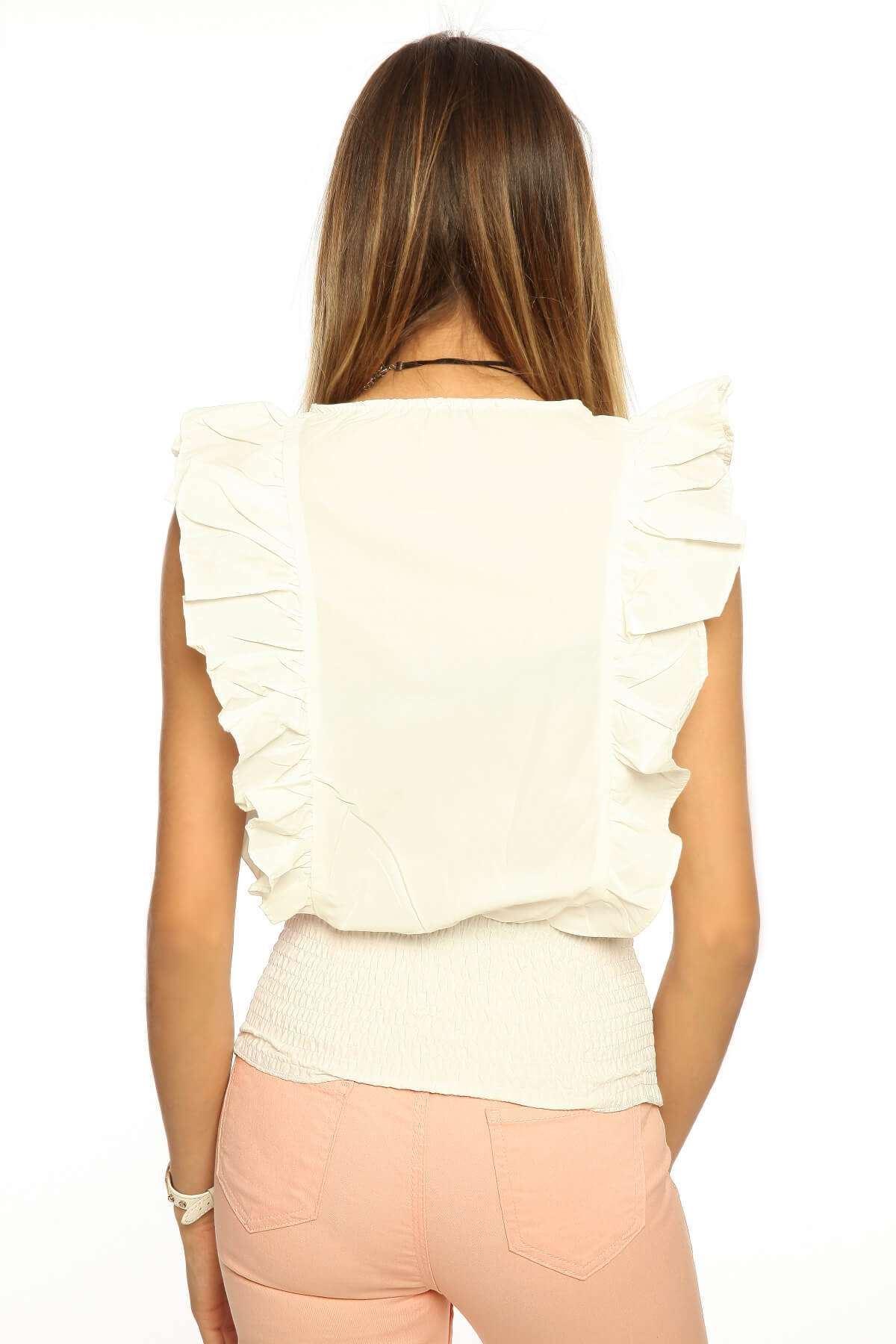 Yanları Fırfırlı Alt Bağcık Detaylı Bluz Beyaz