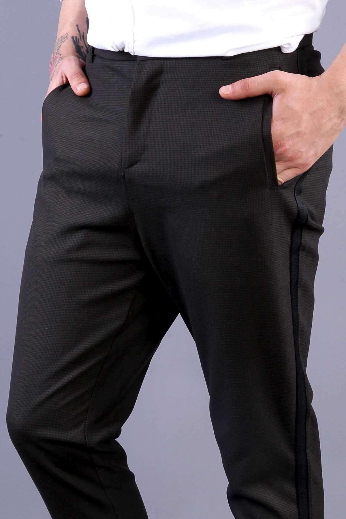 Yanı Şeritli Bilek Boy Ön Ağı Uzun Pantolon Haki