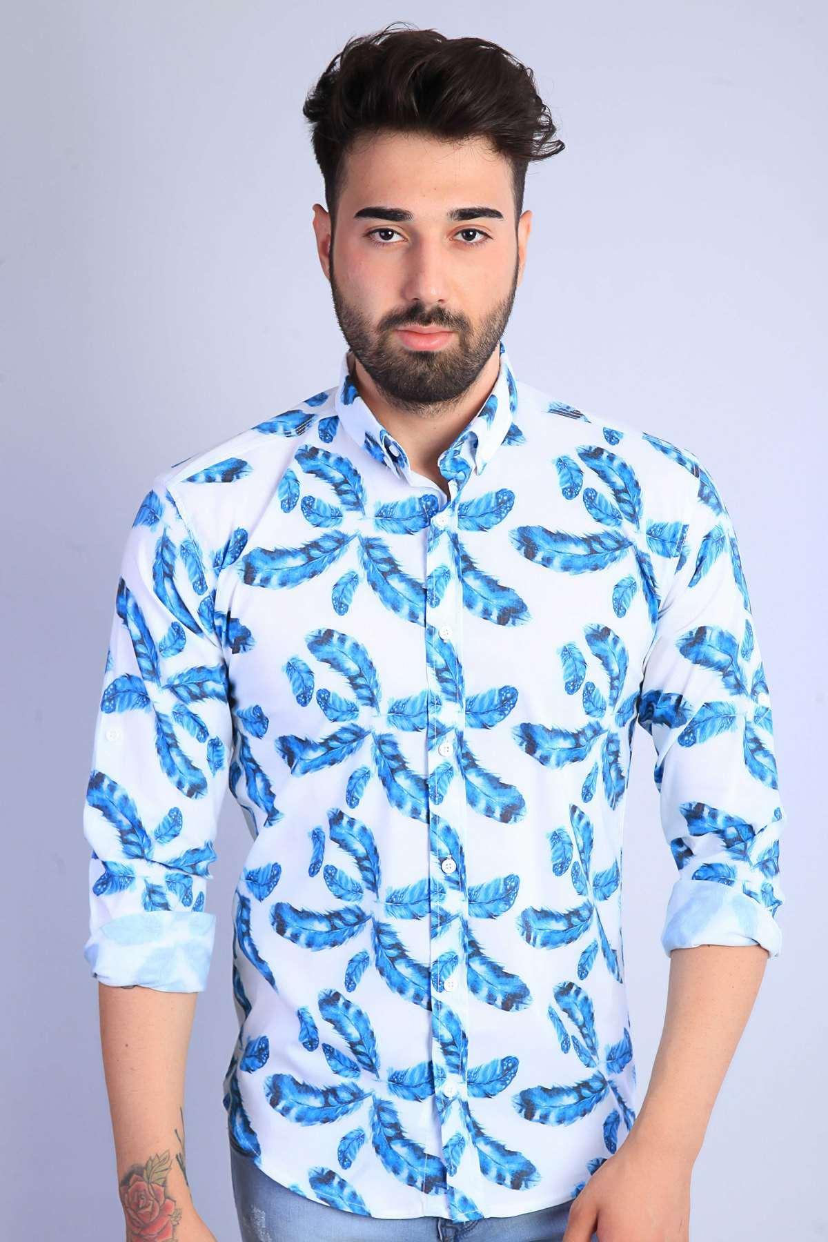 Yaprak Baskılı Slim Fit Gömlek Beyaz-Mavi