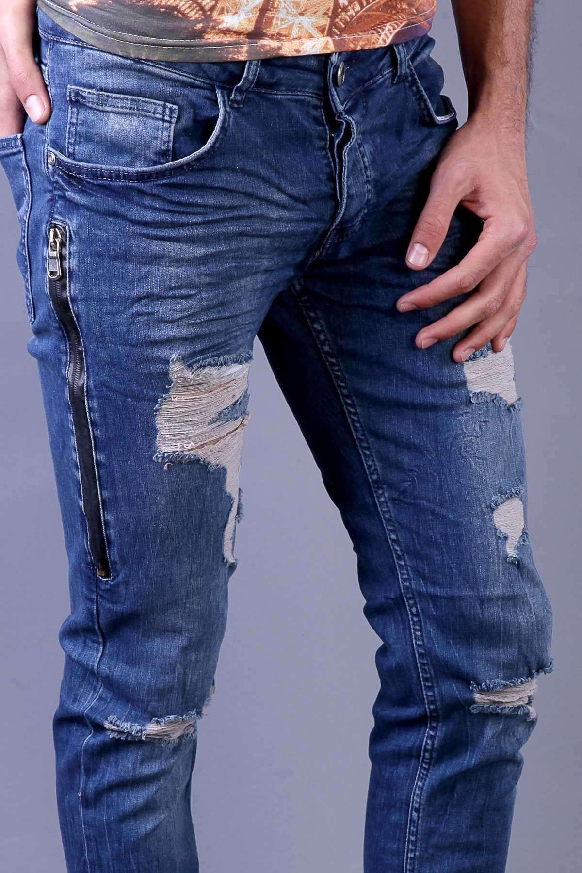 Yanı Ve Arka Cep Fermuarlı Diz Yırtık Slim Fit Kot Pantolon Açık-Lacivert
