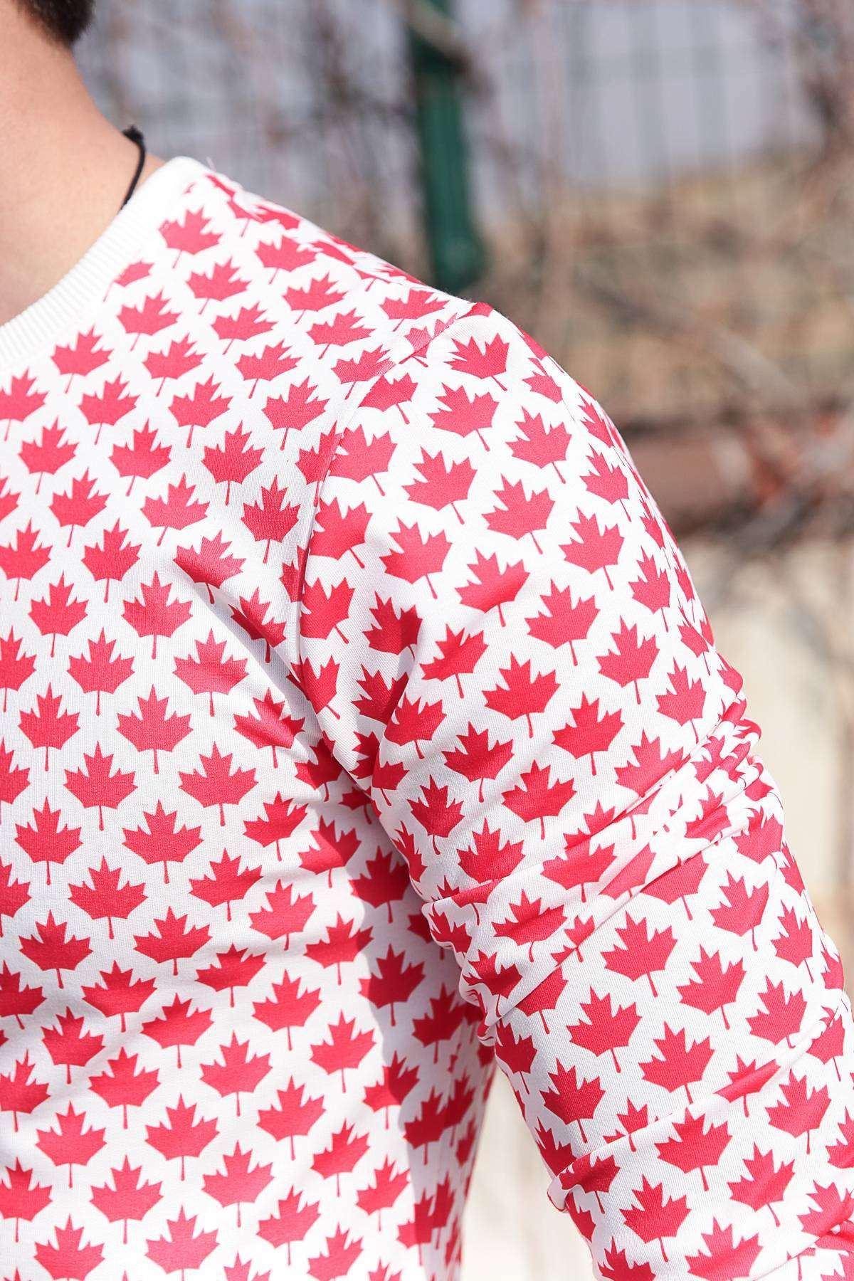 Yaprak Desenli Dijital Baskılı Sweatshirt Beyaz-Kırmızı