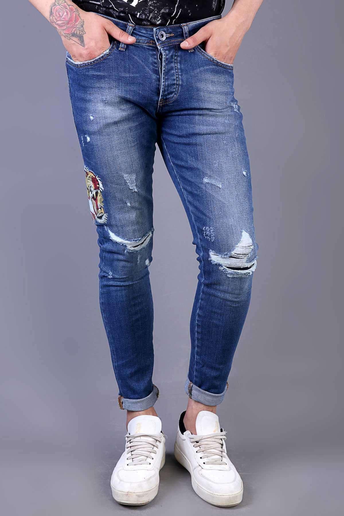 Yanı Kaplan İşlemeli Dizleri Yırtık Slim Fit Kot Pantolon Koyu-Mavi