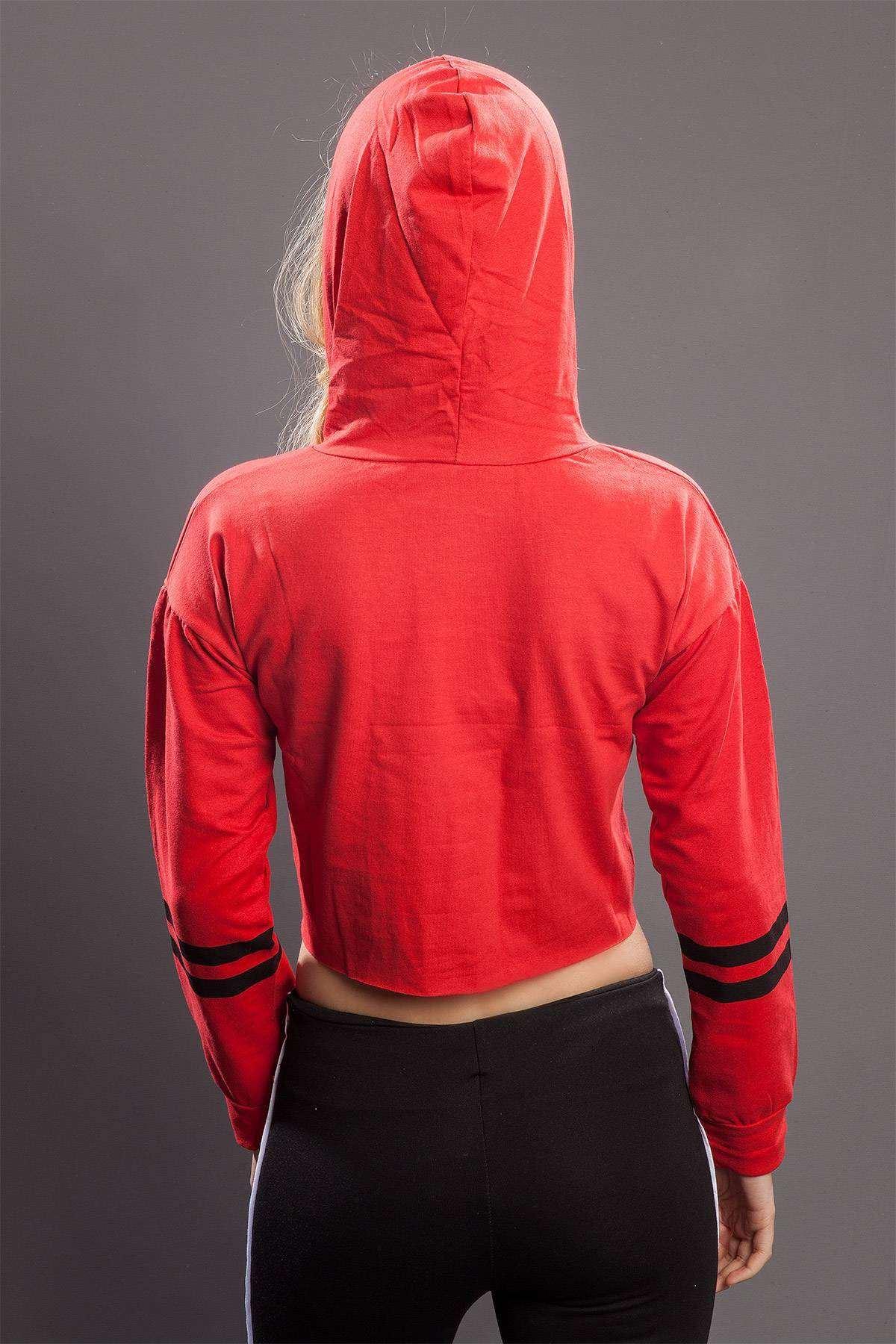 Yazı Baskılı Kapşonlu Mini Sweatshirt Kırmızı