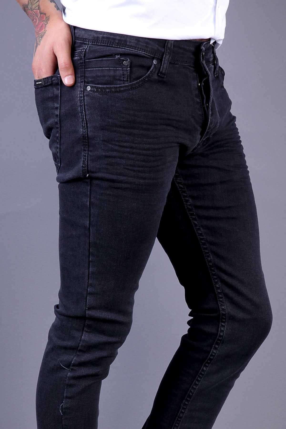 Yıkamalı Klinkırlı Slim Fit Kot Pantolon Antrasit