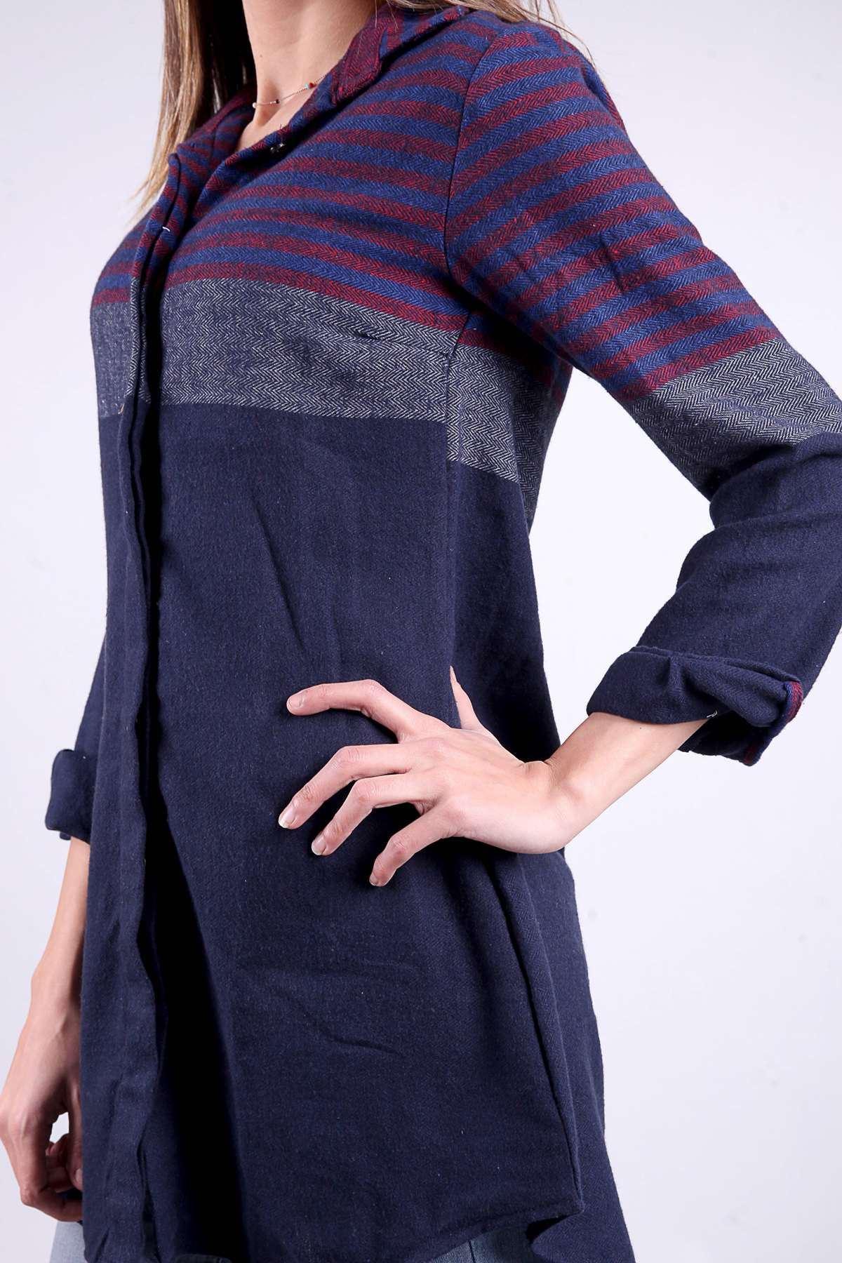 Yün İpli Balık Sırtı Model Enine Çizgili Gömlek Lacivert