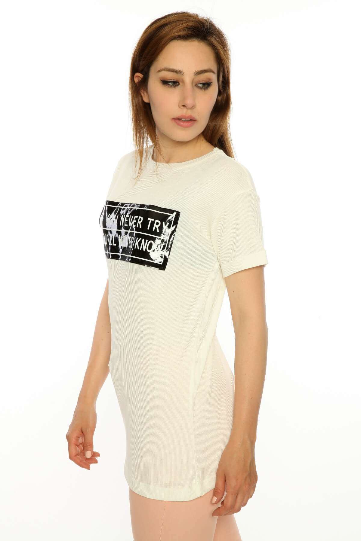 Yarım Kol Ön Plastik Armalı Bluz Krem