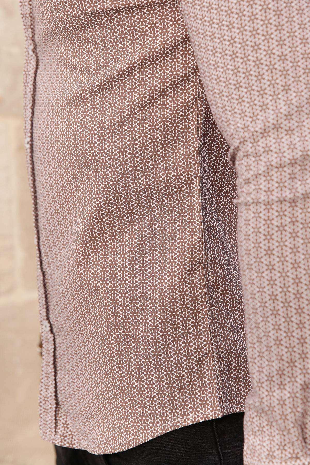 Yıldız Desenli Klasik Yaka Slim Fit Gömlek Kahve