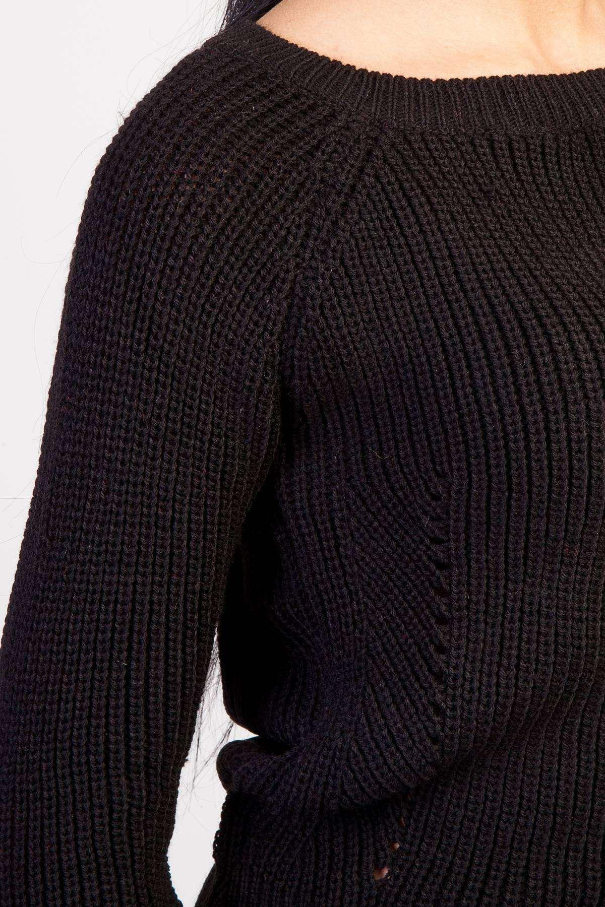 Zincirleme Desenli Yaka Detaylı Triko Siyah