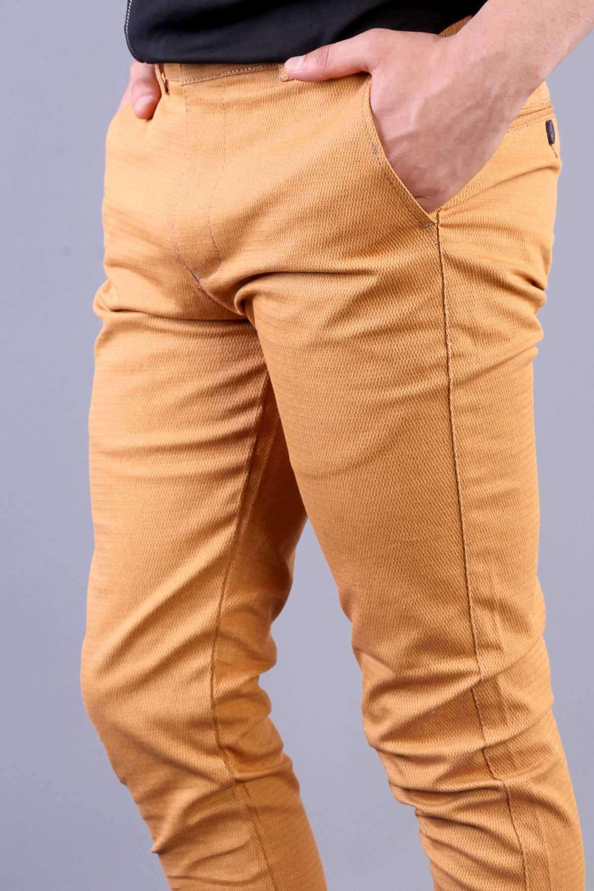 Zincirleme Desenli Slim Fit Pantolon Hardal
