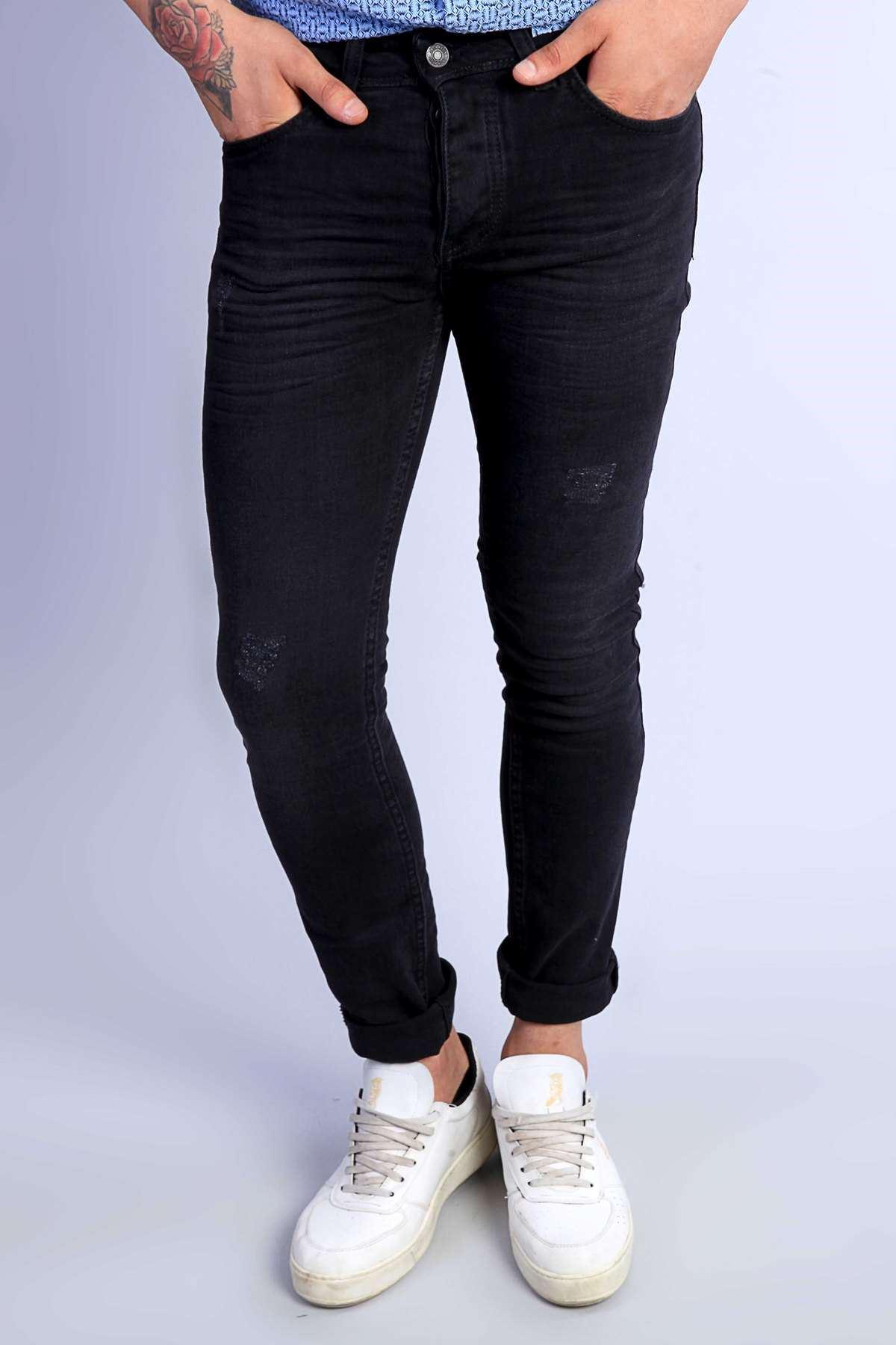 Yıkamalı Lazer Tırtıklı Klinkırlı Slim Fit Kot Pantolon Siyah