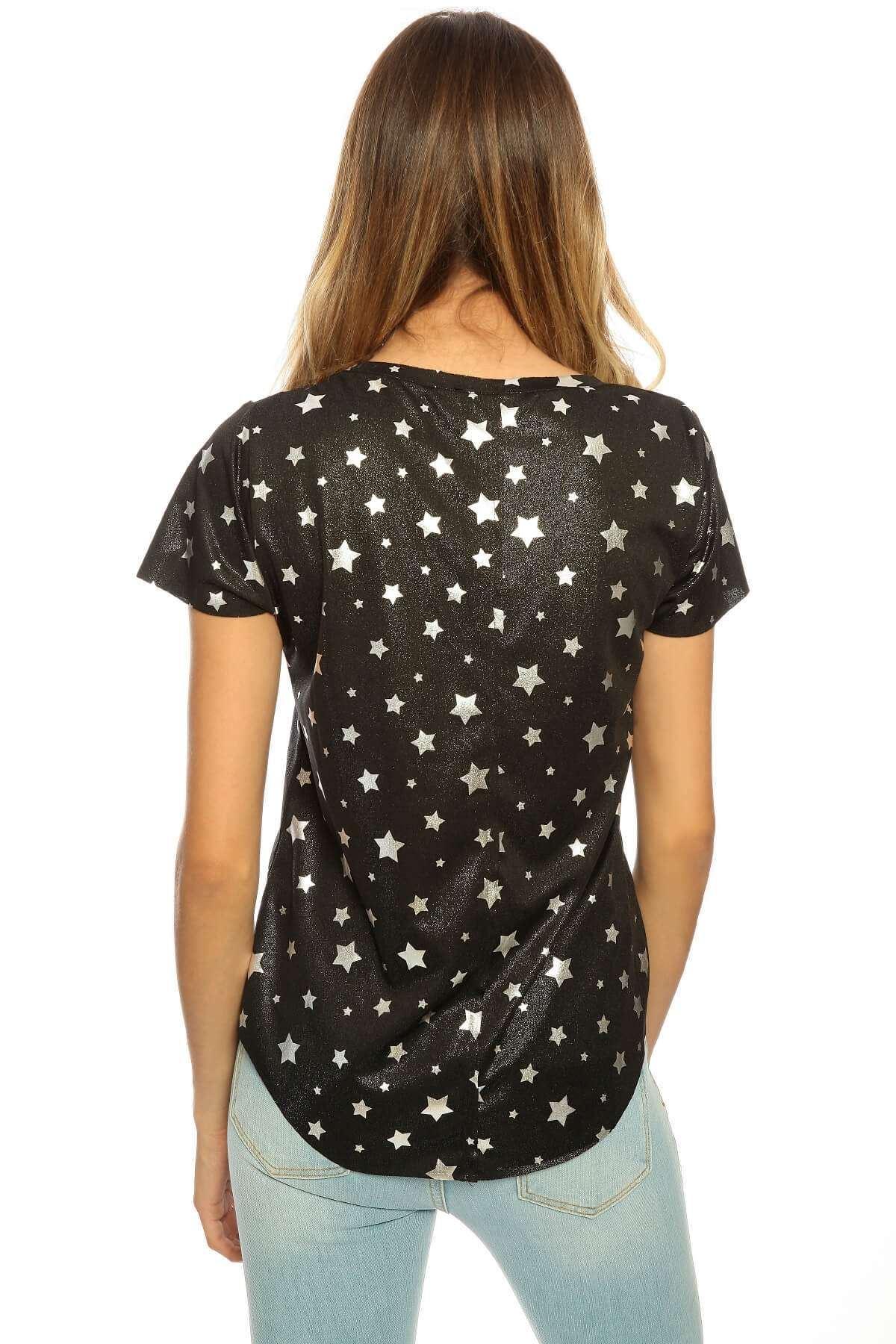 Yıldız Baskılı Kısa Kol Body Siyah