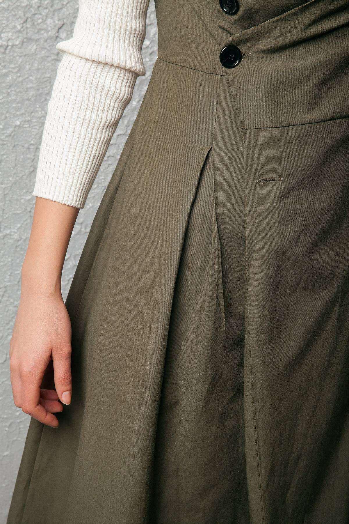 Zara Model Düğme Detaylı Elbise Haki