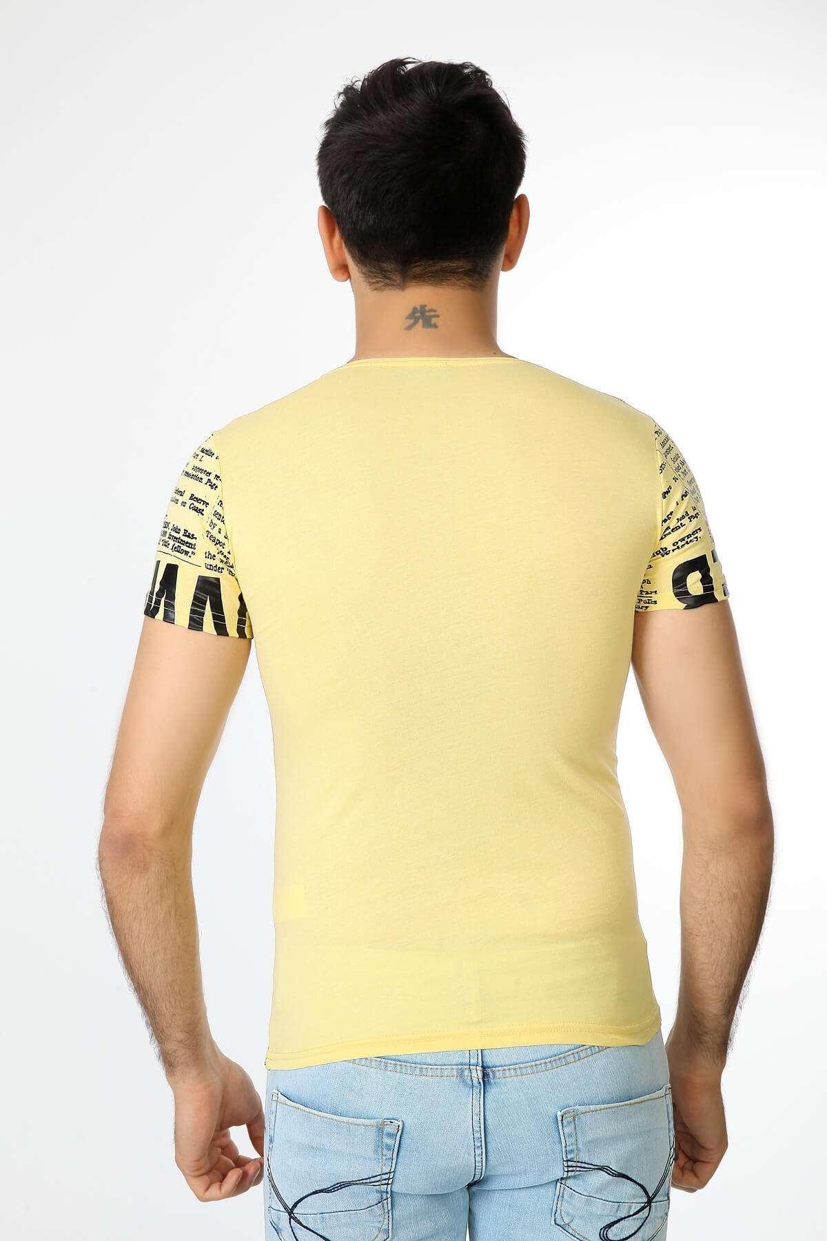 Yazı Baskılı Bisiklet Yaka Tişört Sarı