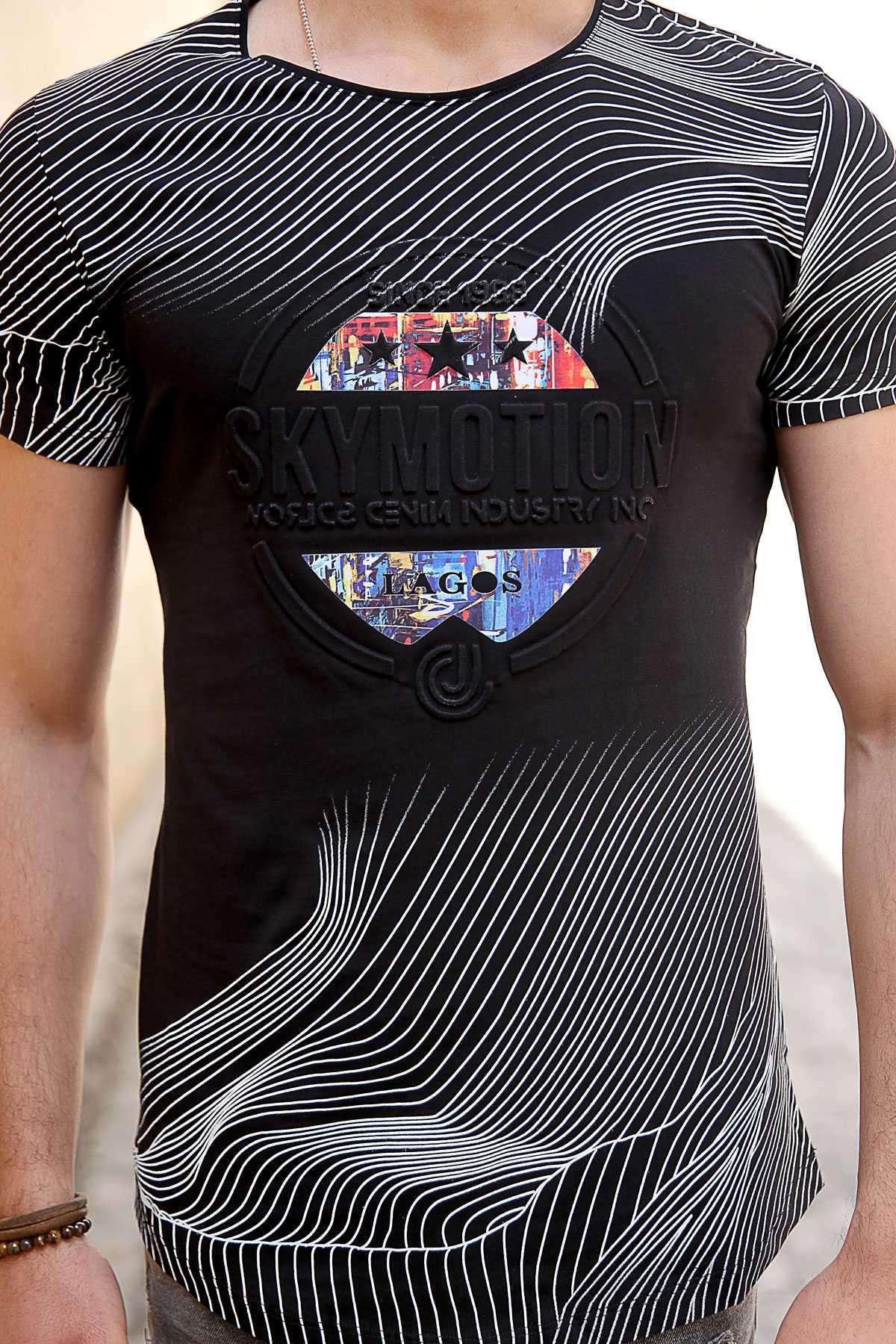 Yatay Çizgili 3 Yıldız Kabartma Yazılı Slim Fit Tişört Siyah