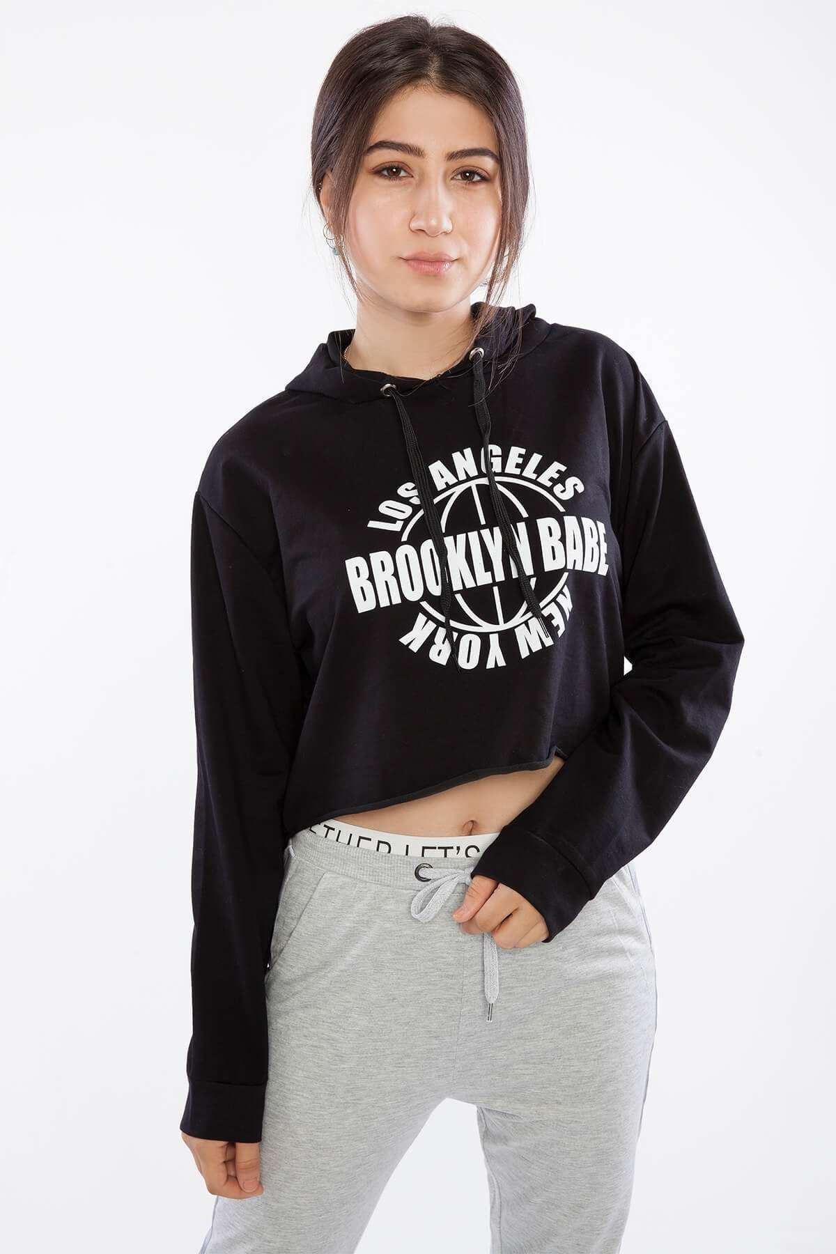 Yazı Baskılı Kapşonlu Mini Sweatshirt Siyah