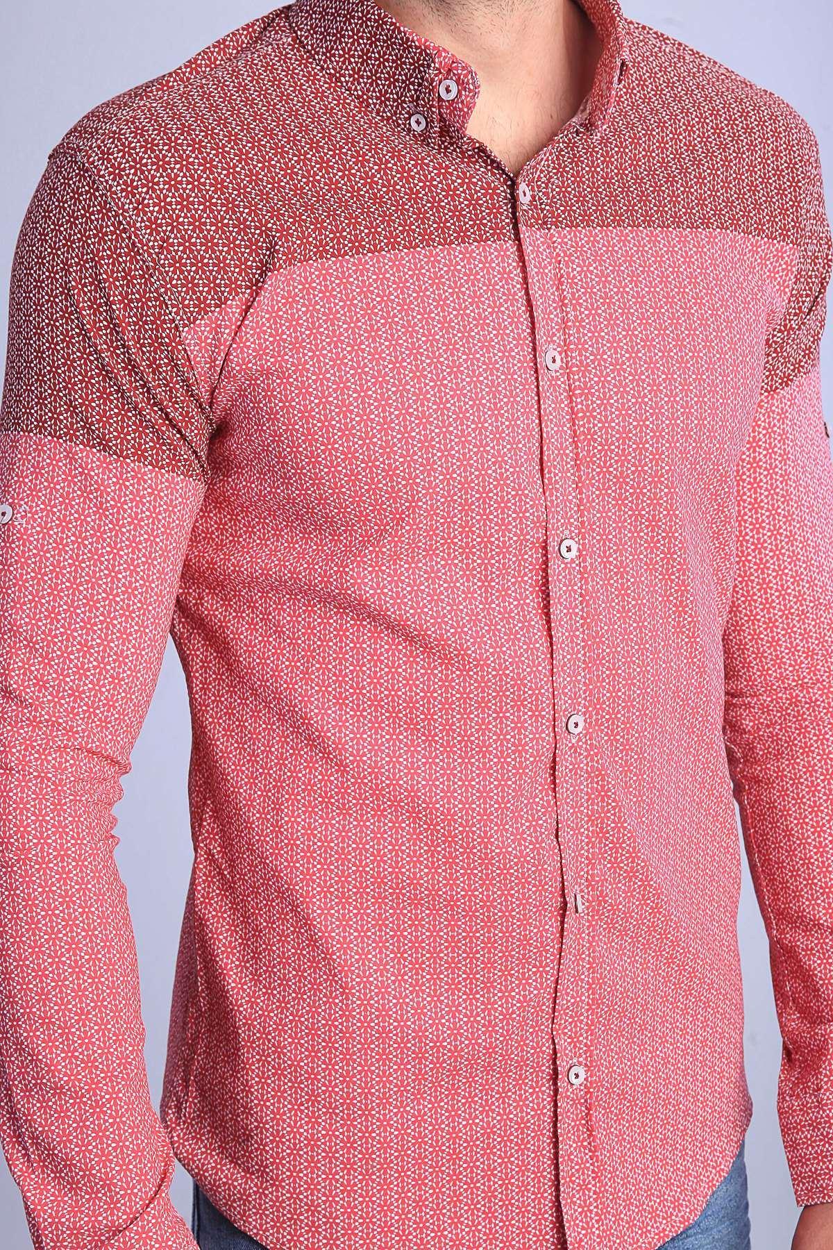 Yıldız Desenli Klasik Yaka Slim Fit Gömlek Bordo