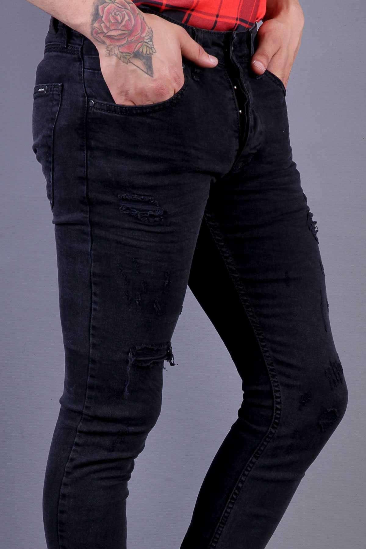 Yırtıklı Lazer Tırtıklı Klinkırlı Slim Fit Kot Pantolon Açık-Siyah